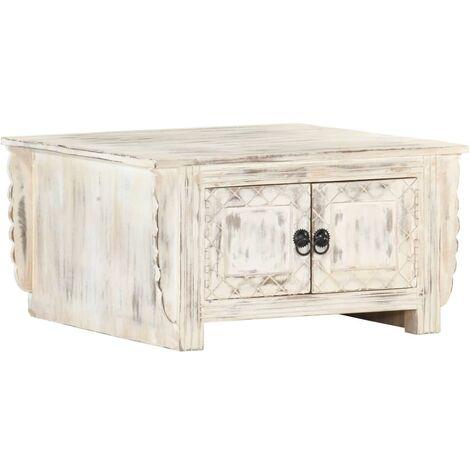vidaXL Coffee Table White 66x66x35 cm Solid Mango Wood - White