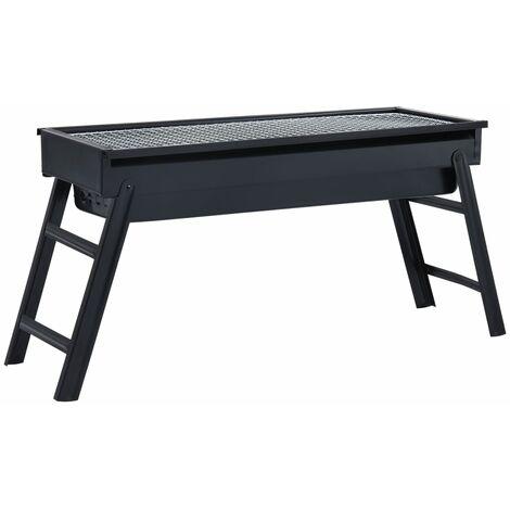vidaXL Portable Camping BBQ Grill Steel 60x22,5x33 cm - Black