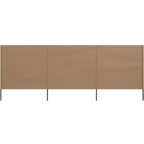 vidaXL 3-panel Wind Screen Fabric 400x80 cm Taupe - Brown