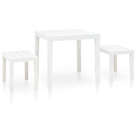 vidaXL Garden Table with 2 Benches Plastic White - White