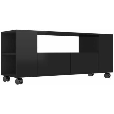 vidaXL TV Cabinet 120x35x43 cm Chipboard High Gloss Black - Black