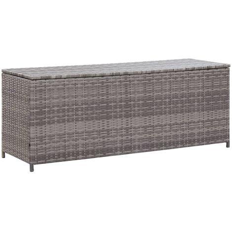 vidaXL Garden Storage Box Grey 150x50x60 cm Poly Rattan - Grey