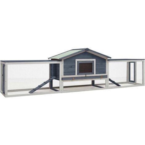 vidaXL Rabbit Hutch Grey 303x60x86 cm Solid Pine & Fir Wood - Grey