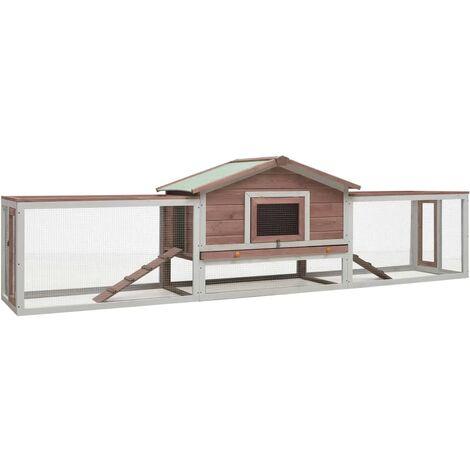 vidaXL Rabbit Hutch Mocha 303x60x86 cm Solid Pine & Fir Wood - Brown