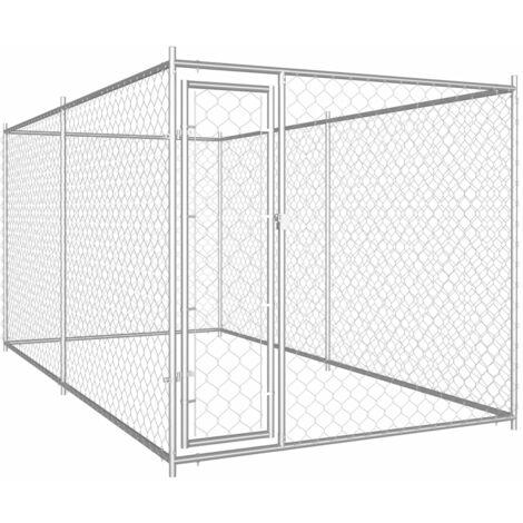 vidaXL Outdoor Dog Kennel 382x192x185 cm - Silver