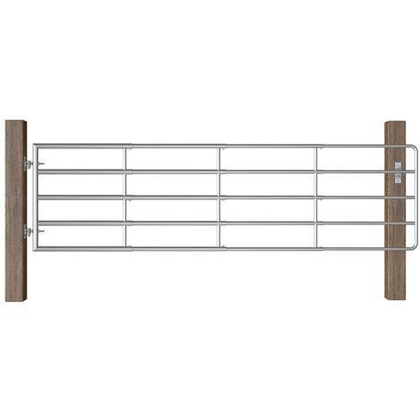 vidaXL 5 Bar Field Gate Steel (115-300)x90 cm Silver - Silver