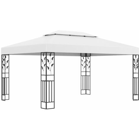 vidaXL Gazebo with Double Roof 3x4 m White - White
