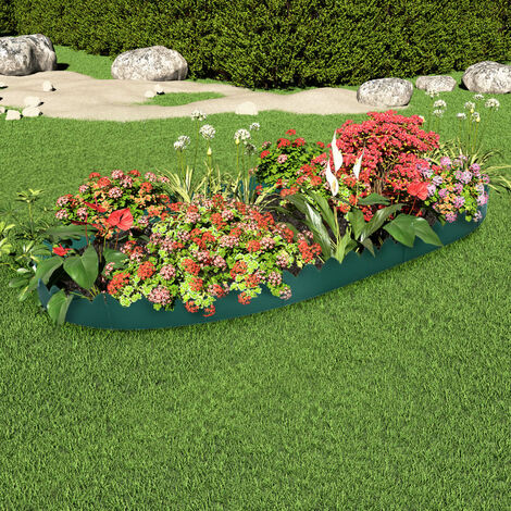 vidaXL Lawn Edgings 10 pcs Green 65x15 cm PP - Green