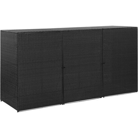 vidaXL Triple Wheelie Bin Shed Black 229x78x120 cm Poly Rattan - Black