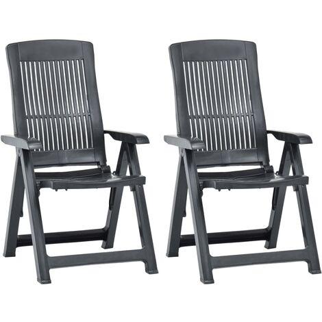 vidaXL Garden Reclining Chairs 2 pcs Plastic Anthracite - Anthracite