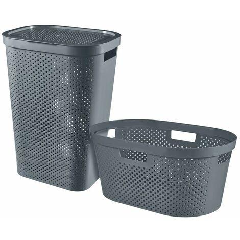 Curver Infinity 2 Piece Laundry Hamper & Basket Set 40+60L Anthracite - Grey