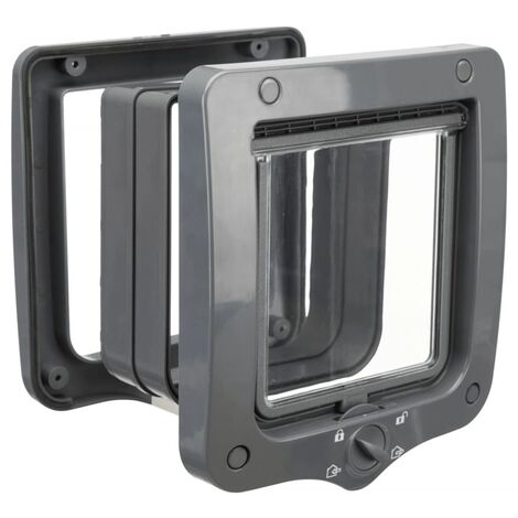 TRIXIE 4-Way Cat Flap Door with 2 Tunnels Grey - Grey