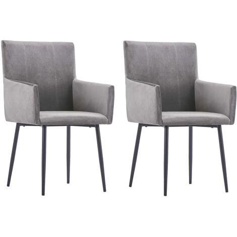 vidaXL Dining Chairs with Armrests 2 pcs Grey Velvet - Grey