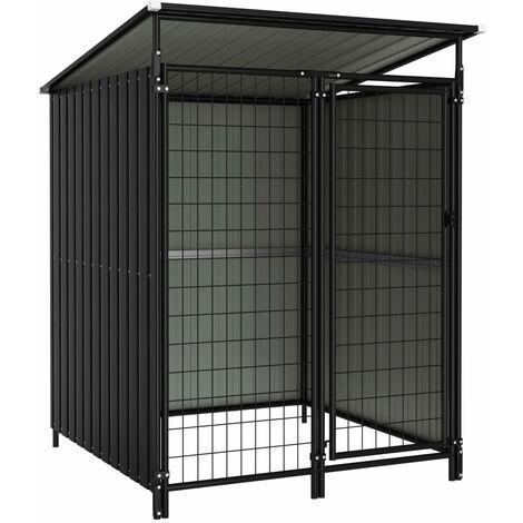 vidaXL Outdoor Dog Kennel 133x133x164 cm - Grey