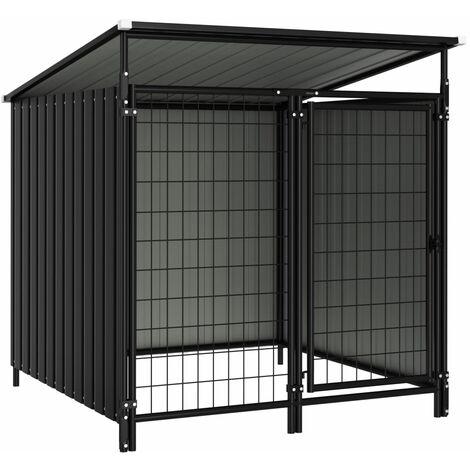 vidaXL Outdoor Dog Kennel 133x133x116 cm - Grey