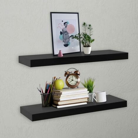 vidaXL Floating Wall Shelves 2 pcs Black 60x20x3.8 cm - Black