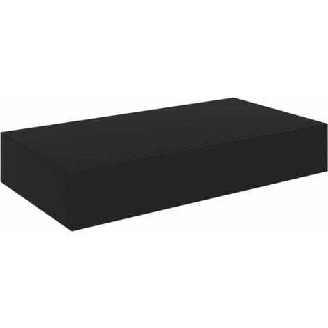 vidaXL Floating Wall Shelf with Drawer Black 48x25x8 cm - Black