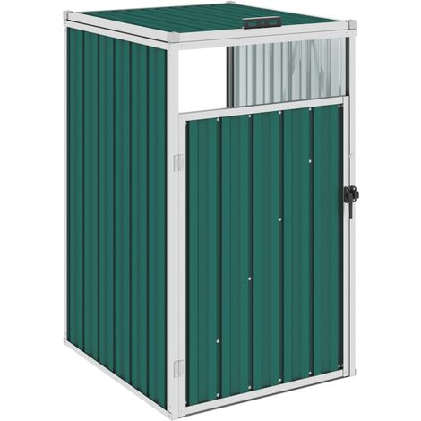 vidaXL Garbage Bin Shed Green 72x81x121 cm Steel - Green