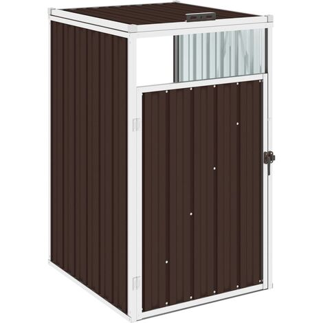 vidaXL Garbage Bin Shed Brown 72x81x121 cm Steel - Brown