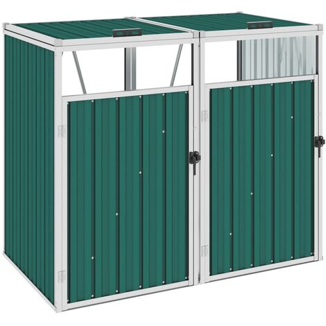 vidaXL Double Garbage Bin Shed Green 143x81x121 cm Steel - Green