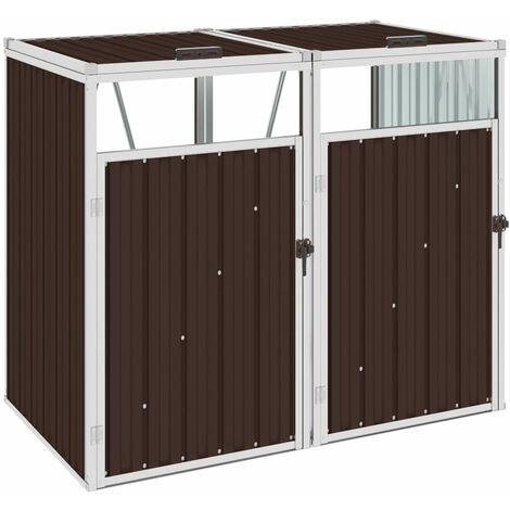 vidaXL Double Garbage Bin Shed Brown 143x81x121 cm Steel - Brown