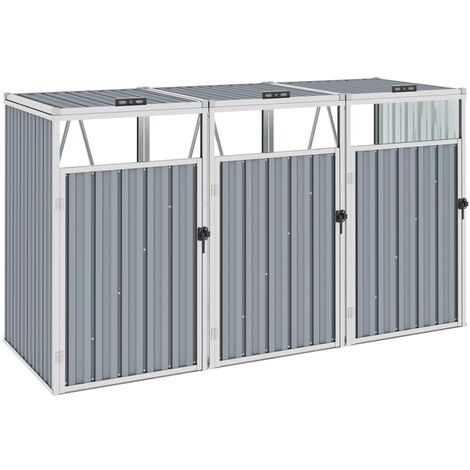 vidaXL Triple Garbage Bin Shed Grey 213x81x121 cm Steel - Grey