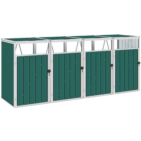 vidaXL Quadruple Garbage Bin Shed Green 286x81x121 cm Steel - Green
