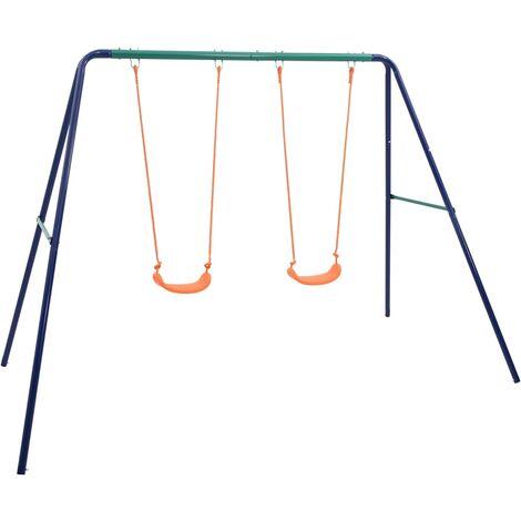 vidaXL Swing Set with 2 Seats Steel - Orange