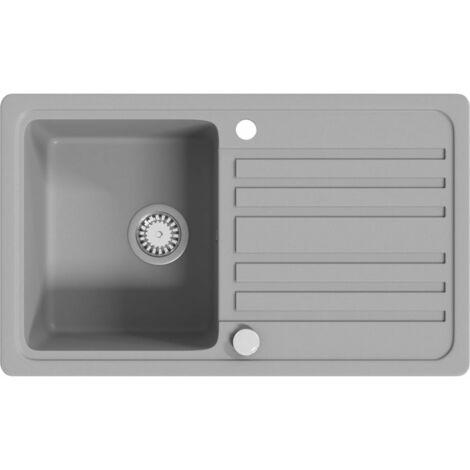 Granite Kitchen Sink Single Basin with Drainer Reversible Grey - Grey