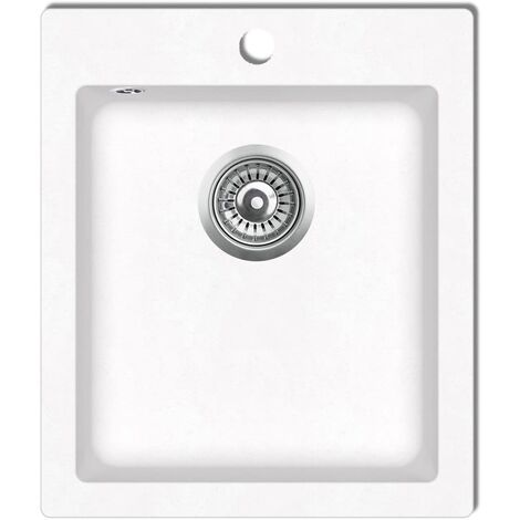 vidaXL Overmount Kitchen Sink Single Basin Granite Cream White - Cream