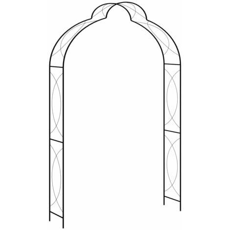 vidaXL Garden Arch Black 150x34x240 cm Iron - Black