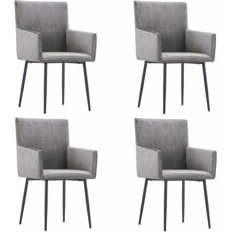 vidaXL Dining Chairs with Armrests 4 pcs Grey Velvet - Grey