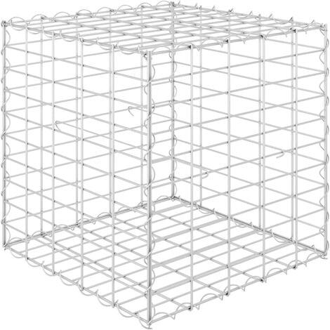 vidaXL Cube Gabion Raised Bed Steel Wire 50x50x50 cm - Silver