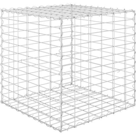 vidaXL Cube Gabion Raised Bed Steel Wire 60x60x60 cm - Silver