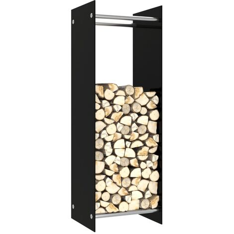 vidaXL Firewood Rack Black 40x35x120 cm Glass - Black
