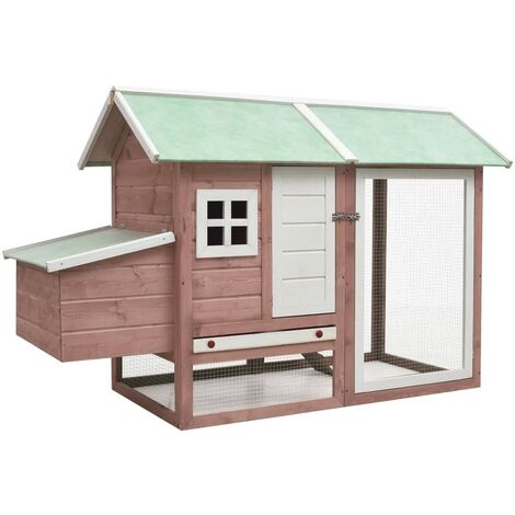 vidaXL Chicken Cage Mocha 170x81x110 cm Solid Pine & Fir Wood - Brown