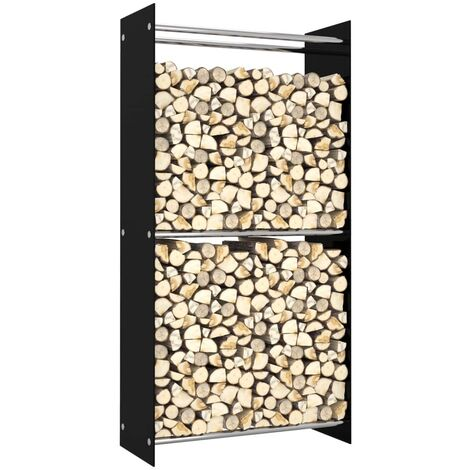 vidaXL Firewood Rack Black 80x35x160 cm Glass - Black