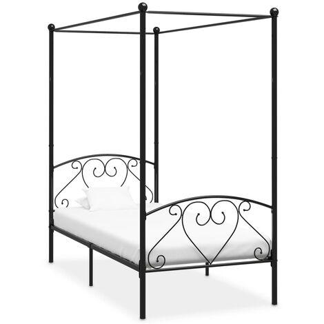 vidaXL Canopy Bed Frame Black Metal 90x200 cm - Black