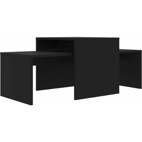 vidaXL Coffee Table Set 100x48x40 cm Chipboard Black - Black