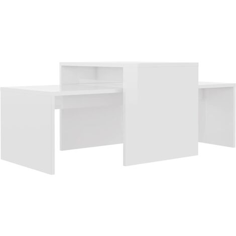 vidaXL Coffee Table Set 100x48x40 cm Chipboard High Gloss White - White