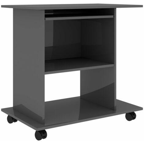 vidaXL Computer Desk Chipboard 80x50x75 cm High Gloss Grey - Grey