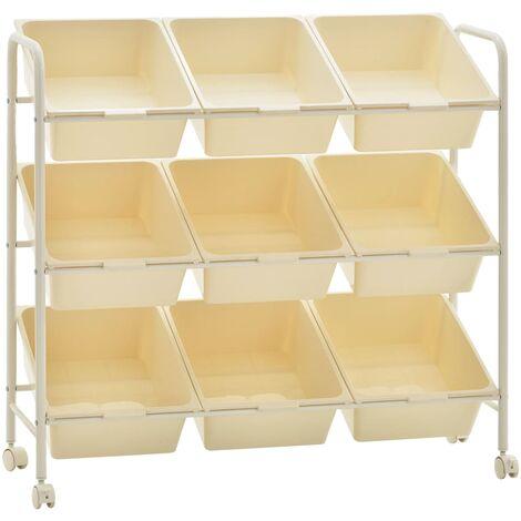 vidaXL 9-Basket Toy Storage Trolley White Plastic - White
