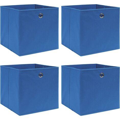 vidaXL Storage Boxes 4 pcs Blue 32x32x32 cm Fabric - Blue