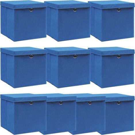 vidaXL Storage Boxes with Lids 10 pcs Blue 32x32x32 cm Fabric - Blue