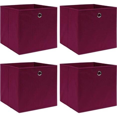 vidaXL Storage Boxes 4 pcs Dark Red 32x32x32 cm Fabric - Red