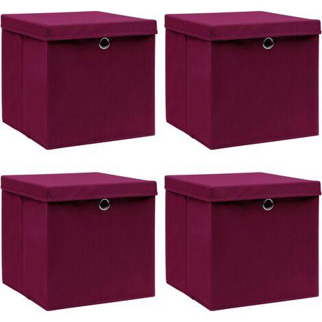 vidaXL Storage Boxes with Lids 4 pcs Dark Red 32x32x32 cm Fabric - Red