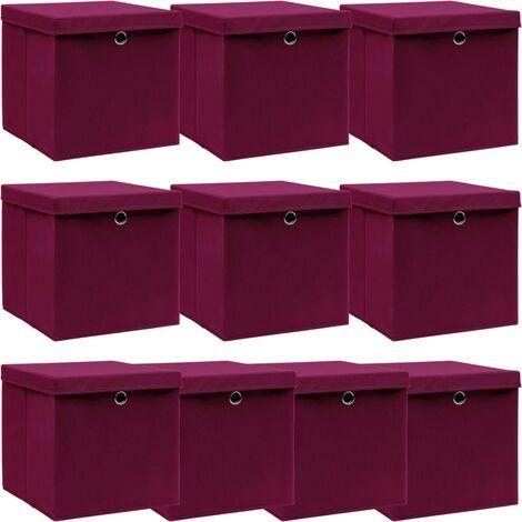 vidaXL Storage Boxes with Lids 10 pcs Dark Red 32x32x32 cm Fabric - Red