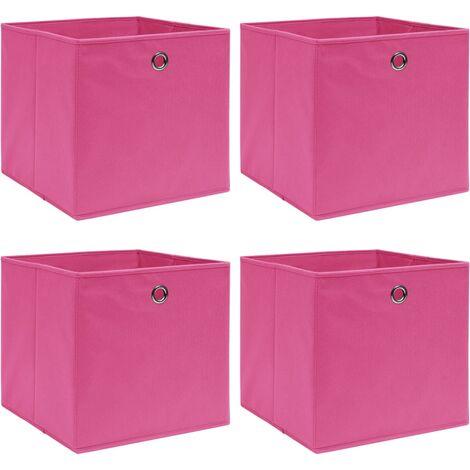 vidaXL Storage Boxes 4 pcs Pink 32x32x32 cm Fabric - Pink