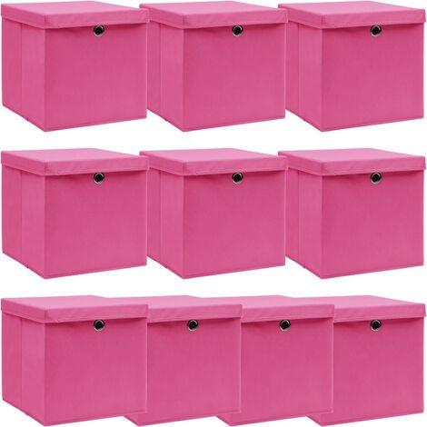 vidaXL Storage Boxes with Lids 10 pcs Pink 32x32x32 cm Fabric - Pink