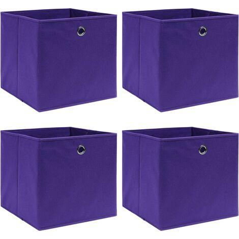 vidaXL Storage Boxes 4 pcs Purple 32x32x32 cm Fabric - Purple